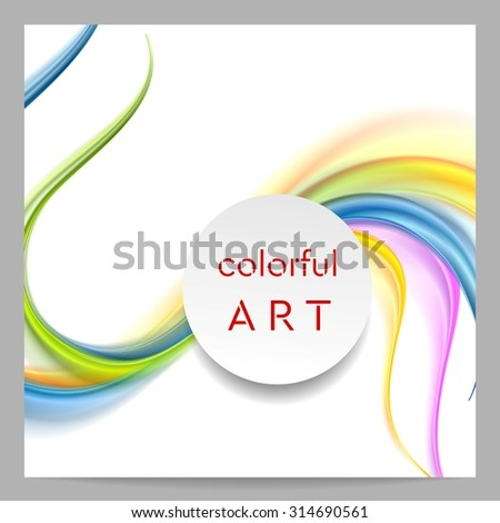 Abstract colorful waves and blank circle on top. Vector card design - stock vector