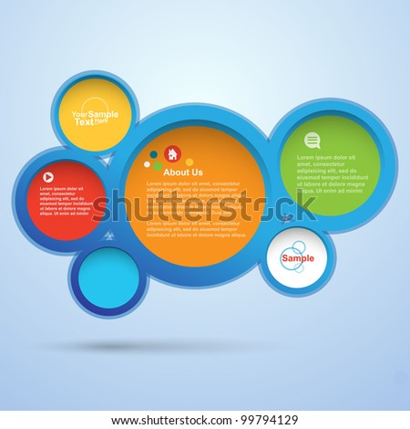 Abstract colorful web design bubble, vector - stock vector