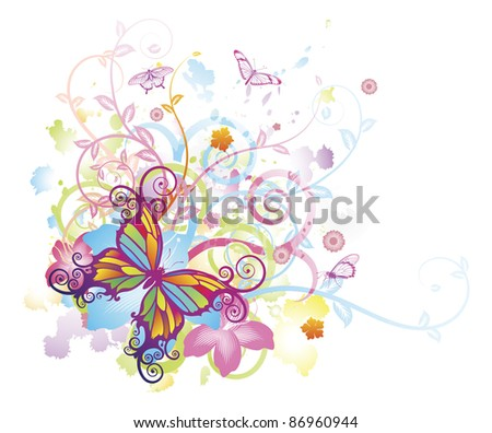 Abstract colourful butterfly background with stylised floral elements, patterns and splashes - stock vector