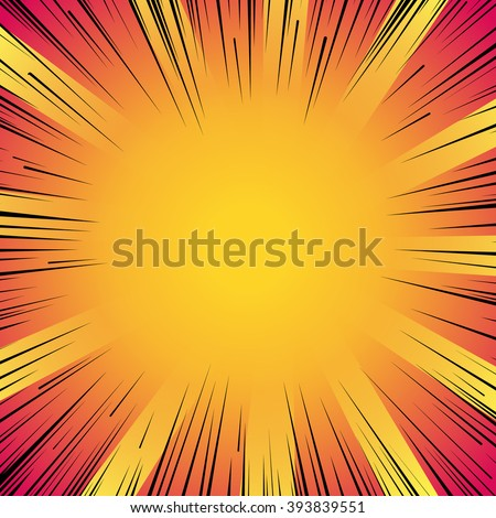Abstract comic book flash explosion radial lines background. Vector illustration for superhero design. Bright black orange yellow light strip burst. Flash ray blast glow Manga cartoon hero fight print