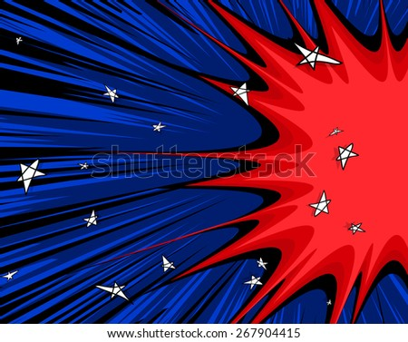 Abstract Comic Stars Background - stock vector