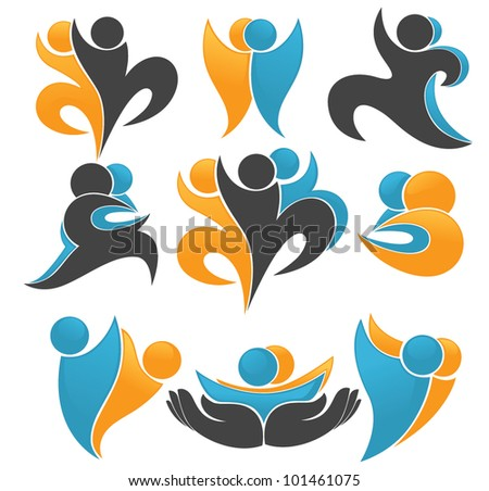 abstract communication people symbols and icons - stock vector