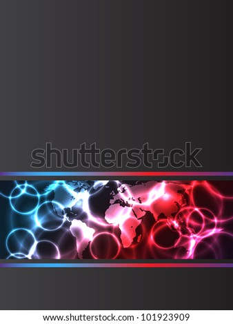 Abstract company brochure with plasma effects and map - stock vector