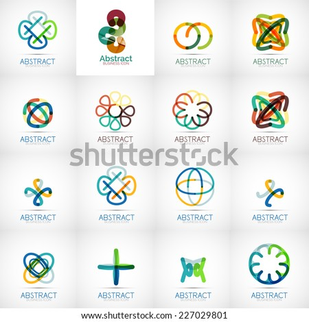Abstract company logo vector collection - large set of business corporate logotypes - stock vector