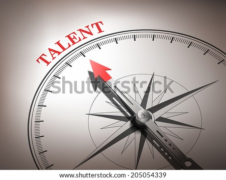 abstract compass with needle pointing the word talent in red and white tones - stock vector