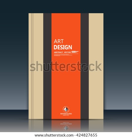 Abstract composition. Beige brochure title sheet cover. Creative logo figure flyer fiber. Ad banner form texture. Orange vertical stripe band. Text frame surface. EPS10 label icon backdrop. Vector art - stock vector