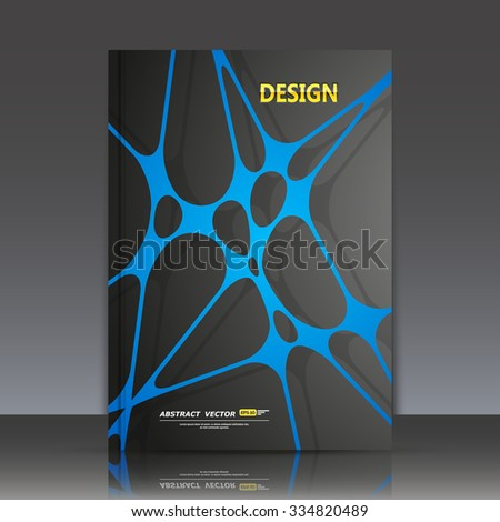 Abstract composition, blue lines and dots cross interlacement, rays plexus, a4 business brochure title sheet, tangled backdrop surface, creative web icon, figure intersection points form, EPS10 vector - stock vector