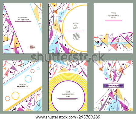 Abstract composition, 6 brochures, geometric pattern, background | EPS10 vector illustration - stock vector