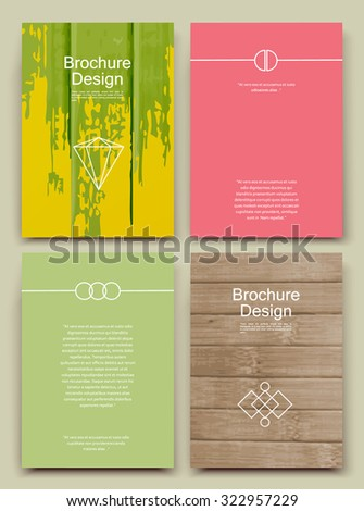 Abstract composition, business card set, bamboo wood structure, paint blur sheet, smeary brochure title, blotch correspondence collection, stain spotted sloppy paper, logo construction, EPS 10 vector - stock vector