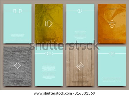 Abstract composition, business card set, correspondence letter collection, brochure title sheet, certificate, diploma, patent, charter, text frame, geometric logo backdrop, EPS 10 vector illustration - stock vector