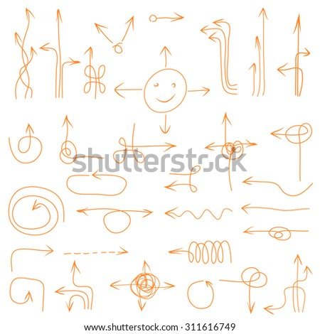Abstract composition, collection of many funny arrow icons, sketchy direction symbols set, sideways guide objects, orientation shape, web design elements, navigation cursor, EPS 10 vector illustration - stock vector