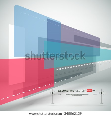 Abstract composition, colored square construction, light static picture, sturtup display, figure theme, sign texture surface, white business backdrop, title sequence, screen saver, EPS10 illustration - stock vector