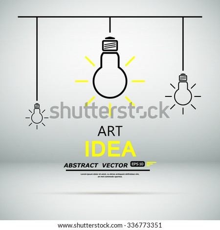 Abstract composition, creative idea art, scientific invention, lamp icon, intellectual electric device, artifice contrivance, mintage startup display, notion screen saver, innovation, EPS10 vector - stock vector