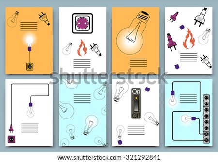 Abstract composition, electric device icon set, current stream image collection, lamp, receptacle, plug, socket, on/off switch, wire, fire flame, info text frame, a4 brochure title sheet, EPS10 vector - stock vector