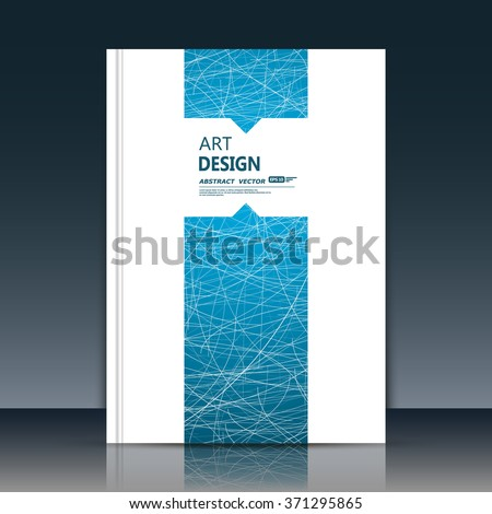 Abstract composition, font texture, blue stripe band construction, white a4 brochure title sheet, text frame, creative figure, web net icon, logo sign surface, firm banner form, flier fiber, EPS10 - stock vector