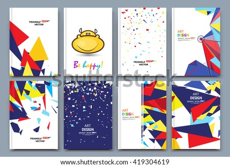 Abstract composition, font texture, white business card set, infograhic element collection, a4 brochure title sheet, happy hippo smile icon, creative text frame surface, humor figure logo, EPS10 image - stock vector