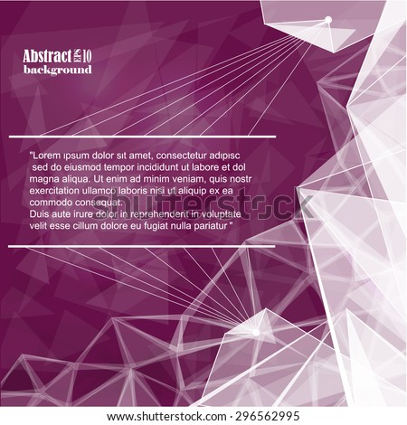 Abstract composition, geometric pattern, triangles, lines, insert text, burgundy background | EPS10 vector illustration - stock vector