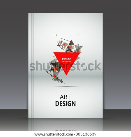 Abstract composition, geometric shapes, red and black triangles print, brochure, background pattern, white and grey paper sheet, EPS 10 vector illustration - stock vector