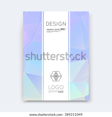 Abstract composition, lilac polygonal stripe font texture, square part construction, white a4 brochure title sheet, creative figure icon, commercial logo surface, firm banner form, EPS 10 flier fiber - stock vector