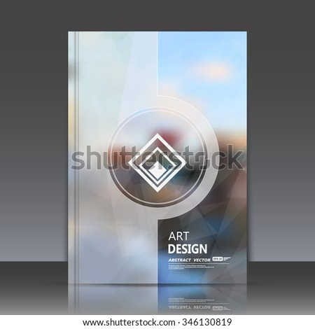 Abstract composition, modern big city view, urban icon, a4 brochure title sheet, lozenge commercial sign, rhombus company name symbol construction, firm production, trademark label, EPS10 illustration - stock vector