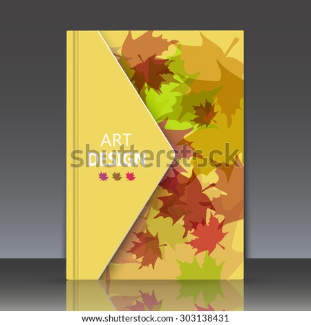abstract composition, motley autumn print,  maple leaves texture, brochure,  nature ornament,  biological pattern, ecological cover, eco design, botanical carving, EPS 10 yellow vector illustration - stock vector