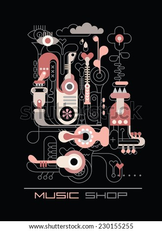 """Abstract composition """"music shop"""". Vector line and shape art illustration on a black background. Combination of outlined and colored objects. - stock vector"""