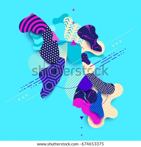 Abstract composition of colored decorative shapes