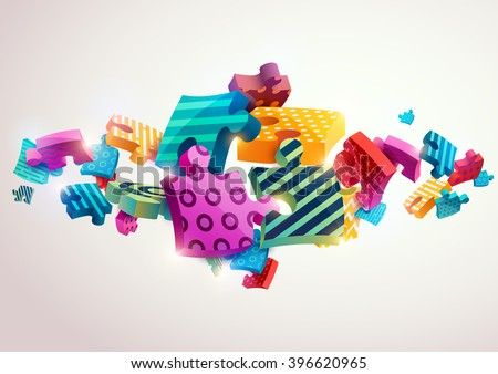 Abstract composition of colored puzzles - stock vector