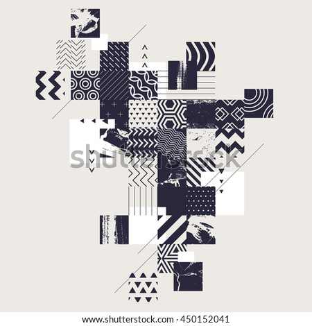 Abstract composition of decorative squares - stock vector