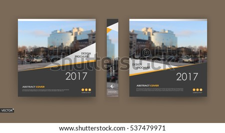 Abstract composition. Patch brochure cover design. Info banner frame. Text font. Title sheet model set. Modern vector front page. City view texture. White triangle figures image icon. Ad flyer fiber
