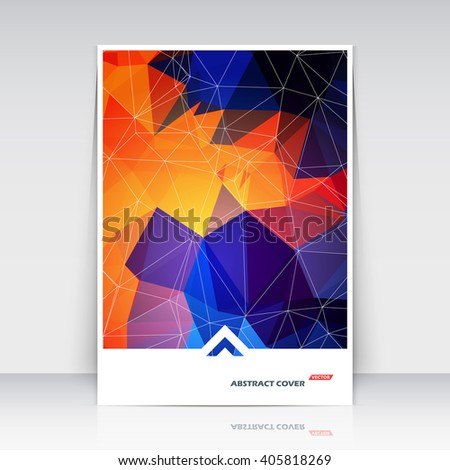 Abstract composition. Patch multicolor polygonal texture. Blue, orange triangle part construction. Lines plexus. Bright a4 brochure title sheet. Creative figure icon surface. Banner form. Flyer font. - stock vector