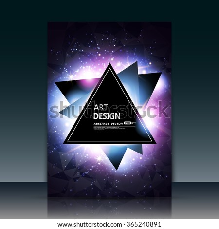 Abstract composition, purple outer space galaxy, glory pink star ray, a4 brochure title sheet, cosmic sky icon, text frame surface, creative figure, logo sign, firm banner form, flier fashion, EPS10 - stock vector