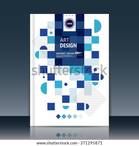 Abstract composition, quadrangle font texture, blue square part construction, white a4 brochure title sheet, creative rectangle figure icon, logo sign surface, firm banner form, flier fiber, EPS10 - stock vector