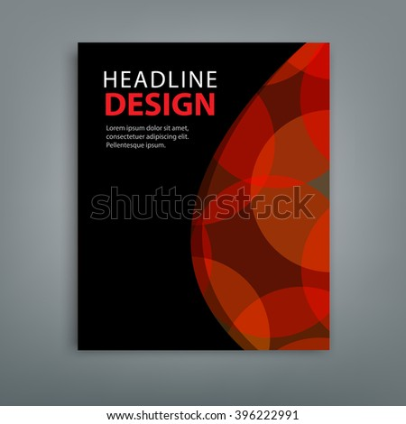 Abstract composition red bokeh round figure icon, brochure title sheet. Black color version. EPS10 illustration. For your next business project, annual report and presentation. - stock vector