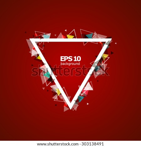 Abstract composition, red triangle, screen saver, display background pattern, EPS 10 vector illustration - stock vector