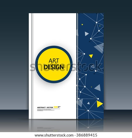 Abstract composition, round text frame surface, yellow circle, white a4 brochure title sheet, creative figure, logo sign icon, molecular banner form, atomic chemical flier fashion, EPS10 vector image - stock vector