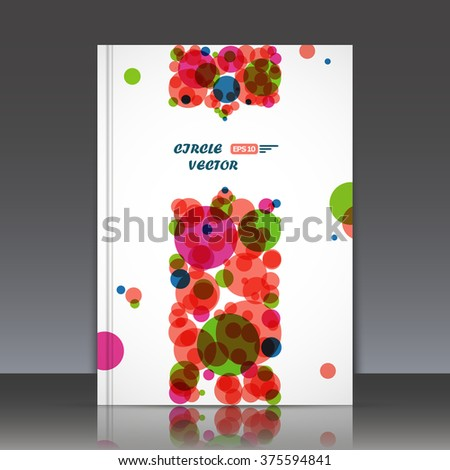 Abstract composition, text frame surface, white a4 brochure title sheet, creative figure texture, flyer fiber, round logo construction, banner form, pink, orange circle icon, EPS10 label band backdrop - stock vector