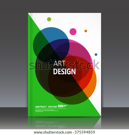 Abstract composition, text frame surface, white, green a4 brochure title sheet, creative font figure, logo sign construction, banner banner form, round icon, red, blue circle label, flyer fiber, EPS10 - stock vector