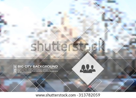 Abstract composition, urban city view, polygonal crystal lattice, diamond facets, square block construction, lozenge, logo base, people silhouette commercial icon, EPS 10 vector illustration - stock vector