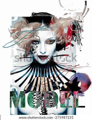 Abstract composition with a female model - stock vector