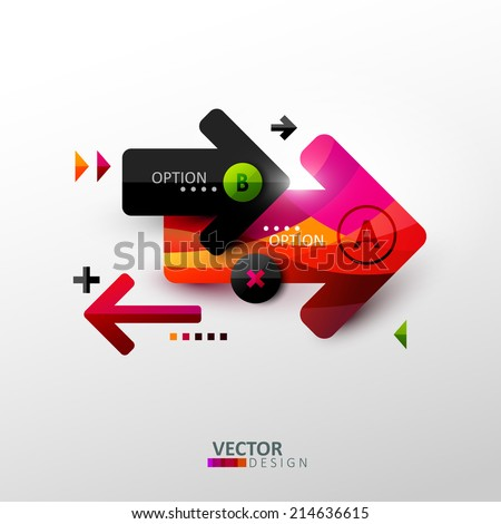 Abstract composition with arrows and other geometric shapes. Template design for infographic. - stock vector