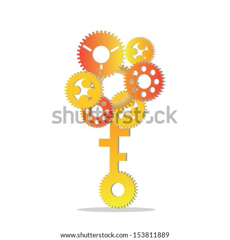 abstract composition with golden gears on white backgrounds  - stock vector