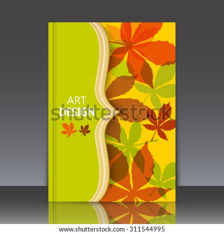 Abstract composition, yellow brochure title sheet, autumn events advertisement, seasonal sale flyer, biological carving, botanical print, eco design, ecological mode, EPS 10 vector illustration  - stock vector