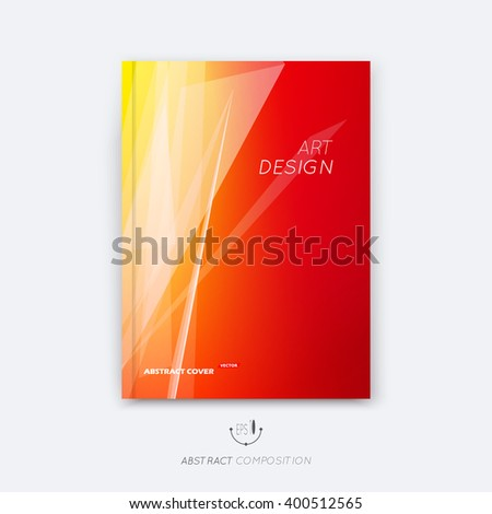 Abstract composition, yellow, orange font texture, white stripe section surface, lines construction, red a4 brochure title sheet, creative figure vector art, commercial offer, banner form, flyer fiber - stock vector