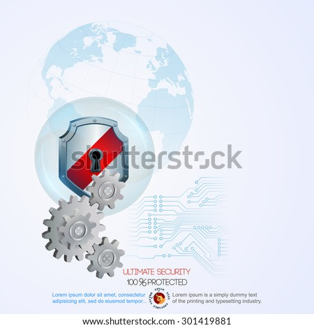 Abstract computer graphic design with defense shield behind  cogwheels; Security shield behind cogwheels in connection with circuits and light blue shadow of Earth globe in backdrop  - stock vector