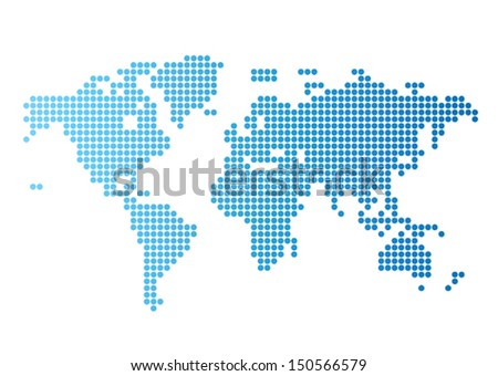 Abstract computer graphic World map of blue round dots. Vector illustration. - stock vector