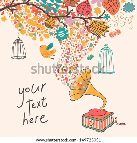 Abstract concept background with gramophone, bird, cages and colorful branch in vector. Colorful card in vintage style.  - stock vector