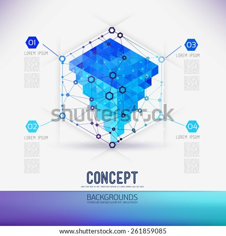 Abstract concept geometric lattice,the scope of molecules,in the hexagon.Round composition of the molecular lattice with geometrical figure in the middle.Blue color composition vector for your design. - stock vector