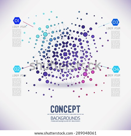 Abstract concept geometric lattice, the scope of molecules, in the round.Composition of the molecular lattice with geometrical figure of the points. Color composition vector for your design. - stock vector