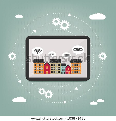 abstract concept of city tablet computer connection - stock vector